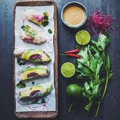 Vietnamese Summer Rolls with Peanut Sauce by These rolls are vegan and gluten free making them great for healthy snacking or a light lunch! Vietnamese Summer Rolls, Vegan Recipes, Snack Recipes, Wrap Recipes, Vegan Food, Brunch, Peanut Sauce, Peanut Butter, Healthy Dishes