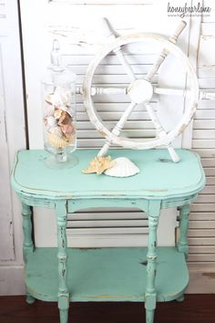 painted side table using True Turquoise by Glidden paint