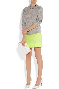 A grey, jersey, knit----J.Crew|Postage Stamp embroidered cotton-blend mini skirt|NET-A-PORTER.COM