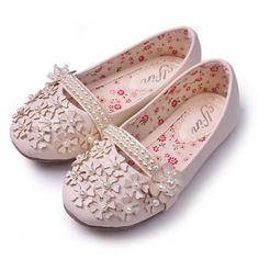 Light Pink Beaded Ballet Flats Shoes for Flower Pageant Girls SKU-133074