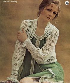 CROCHET PATTERN LADIES BED JACKET DK_ONE PIECE FROM CUFF TO CUFF!!!