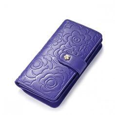 Delikatny długi portfel damski Purpurowy