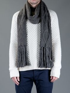 b40191d0509 Ralph Lauren Cable Knit Scarf in Gray for Men (grey) - Lyst Cable Knit
