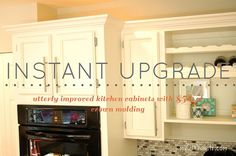 I utterly transformed my cabinets by spending $50's on crown molding. To date I have painted, added hardware and now Crown Molding to make these 20 years old ca…