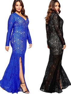 Elegant Lace Long Evening Dresses