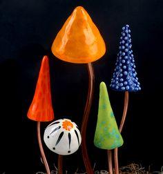 Glass garden mushrooms :)