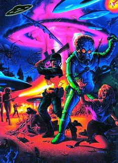 in the black light poster section of your favorite head shop. Arte Horror, Horror Art, Sci Fi Kunst, Arte Sci Fi, Les Reptiles, Mars Attacks, 70s Sci Fi Art, Black Light Posters, Aliens And Ufos