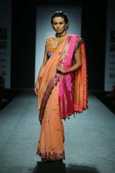 Lehenga gold zari zardozi indian weddings bride bridal wear www.weddingstoryz.com details Sari by Anupama Dayal. Fall/Winter 2014-15