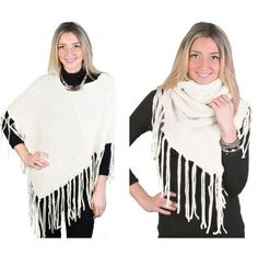 Off White Bohemian Knit Ribbed Poncho Cape Loop Scarf Frilled Edges  NEW NWT #NorthSouthFashions #Poncho