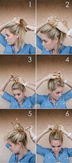 #messybun #topknot #howto #stepbystep #hairhowto