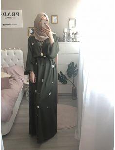 Jennah Boutique -NINA LOUNGE ROBE (KHAKI) Hijab Style Dress, Hijab Chic, Hijab Outfit, Modesty Fashion, Abaya Fashion, Fashion Dresses, 70s Fashion, Fashion Tips, Mode Abaya