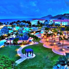 Night time on the gorgeous grounds of the St. This look slike fun! Soaking up the sun isn't all you do at the St Kitt's marriott resort! Vacation Wishes, Dream Vacations, Vacation Spots, St Kitts, Places To Travel, Places To See, Caribbean Resort, Romantic Travel, Romantic Getaway