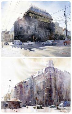 Artist Showcase: Grzegorz Wróbel Amazing Architecture #watercolor #painting