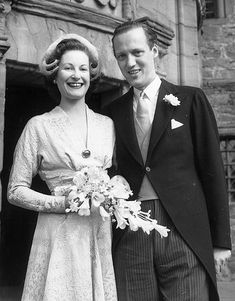 Wedding of Prince Georg of Denmark and Anne, Viscountess Anson, daughter of the Hon. John Herbert Bowes-Lyon, ex-wife of Viscount Anson, niece of Queen Elizabeth the Queen Mother, first cousin of Queen Elizabeth.  They married at Glamis Castle, September 16, 1950.  by Mig_R, via Flickr