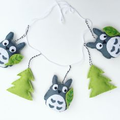 Totoro felt garland with green leaves and by FoxesandBumblebees