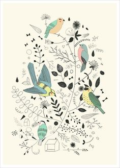 Buy Bird Illustration, Spring-themed art, Bird Poster - Studio Meez