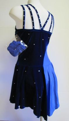 ICE SKATING DRESS Competition Figure Skate Two Blues w Crystals Larger Fit M AM #FlyingCamelDesigns