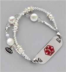Shimmering Pearls Medical ID Bracelet