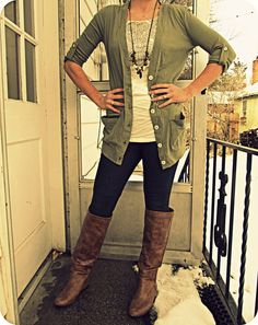 Looks casual and yet put-together. I already have skinnies and boots. Love the colors and the long necklace.