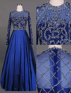 $168.99 Elegant A-line Cowl Neck Long Sleeves Royal Blue Prom Dress With Beading
