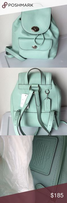 "NWT COACH Pebble Mini Turnlock Backpack ""Seaglass"" pebble leather with silver tone hardware. Coach Bags Backpacks"