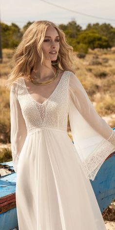 Amazing Boho Wedding Dresses With Sleeves ★ See more: https://weddingdressesguide.com/boho-wedding-dresses-with-sleeves/ #bridalgown #weddingdress #BohoWeddingIdeas