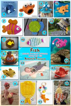 Fish | Collage 1 | Animal Crochet Pattern Round Up via @beckastreasures