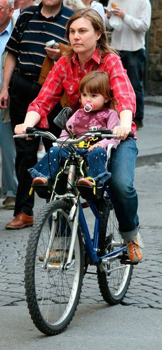 Bike riding on car-free town streets is safe.