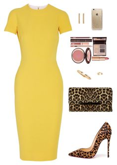 A fashion look from September 2015 featuring yellow dress, Aquazzura and leopard clutches. Browse and shop related looks. Classy Outfits, Stylish Outfits, Cute Outfits, Business Outfits, Business Attire, Work Fashion, I Love Fashion, Outfit Elegantes, Dress Outfits