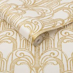Sample Art Deco Wallpaper in Gold and Pearl from the Exclusives Collection by Graham & Brown