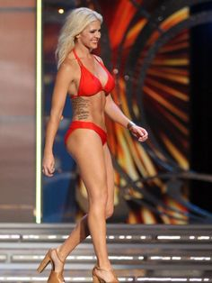 Theresa Vail, Miss Kansas, takes part in the swimsuit competition during the first night of the Miss America Pageant Sept. 10 at Boardwalk Hall in Atlantic City, N.J. Vail isn't looking to shock the nation at the 2014 pageant.