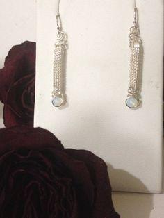 Wire Wrapped Jewelry Handmade, Wire Jewelry, wire wrapping, gemstone jewelry, Opal Earrings, Woven Wire Earrings, Silver Earrings