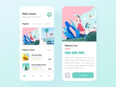 Travel App designed by SoLemon for Top Pick Studio. Connect with them on Dribbble; the global community for designers and creative professionals. Ux Design, Design Layouts, Flat Design, Graphic Design, Apps, Ui Design Mobile, Mobile Ui, Maldives Tour, App Design Inspiration