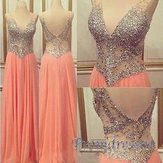 Cute v-neck sequins top orange chiffon prom dress, homecoming dress 2016,long prom dress for teens