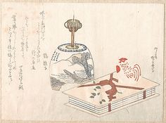 Candlestand and Book  Ryûryûkyo Shinsai  (Japanese, 1764?–1820)  Period: Edo period (1615–1868) Date: probably 1813 Culture: Japan Medium: Polychrome woodblock print (surimono); ink and color on paper