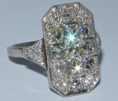 Art Deco panel shaped diamond ring