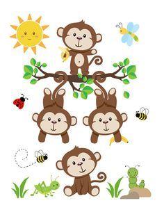 Monkey Wall Art Decal Nursery Baby Mural Stickers Safari Jungle Animal Decor #decampstudios