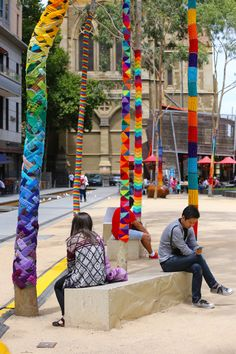Yarn Corner have transformed City Square, Melbourne, into a spectacle of colour and joy. Images by oh.yes.melbourne