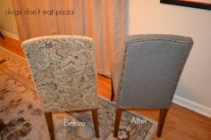How to reupholster parsons chairs - an easy project that can change the look of your dining room! dogsdonteatpizza.com