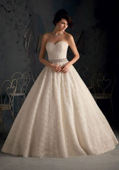Poetic Lace Trimmed with Crystal Beading Designer Wedding Dress