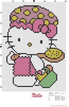 Encontrado en my.cross.stitch.patterns.com Hello Kitty bath pattern
