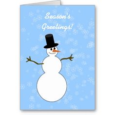 Snowman Season's Greetings with Snowflake Cards