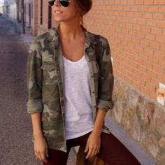 Camo Jacket Camo Jacket from Nordstrom, never worn! 10/10 condition. Perfect for a casual look or paired with a little black dress and gold jewelry! Jackets & Coats Utility Jackets