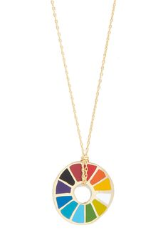 Corked Necklace in Color Wheel. This delicate Yellow Owl Workshop necklace, housed in a glass tube with a cork, holds at its center a vibrant color wheel hanging from an 18k gold dipped chain. #multi #modcloth