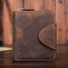 991b2d5567466 Leather Mens Wallet Short Zipper Bifold Wallet Vintage Wallet for Men