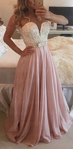 Chiffon Floor Length Prom Dress, Elegant Prom Dresses