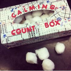 Use cotton balls and a designed empty tissue box to allow the student to count to themselves to calm down by physcially placing the cotton ball into the box as they count.