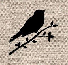 Printable Bird On Branch Stencil Birds on a branch stencil Stencil Patterns, Stencil Designs, Bird Template, Bird Stencil, Manualidades Halloween, Bird On Branch, Animal Silhouette, Pyrography, String Art