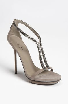 Free shipping and returns on Gucci 'Naomi' Sandal at Nordstrom.com. Diminutive baubles stream down the split strap of a minimalist sandal perched atop a strikingly slim heel.