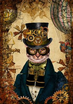 Steampunk Animals, Steampunk Cat, Cat Art Print, Cat Character, Nature Artwork, Cat Wallpaper, Funny Animal Pictures, Pet Portraits, Cat Art